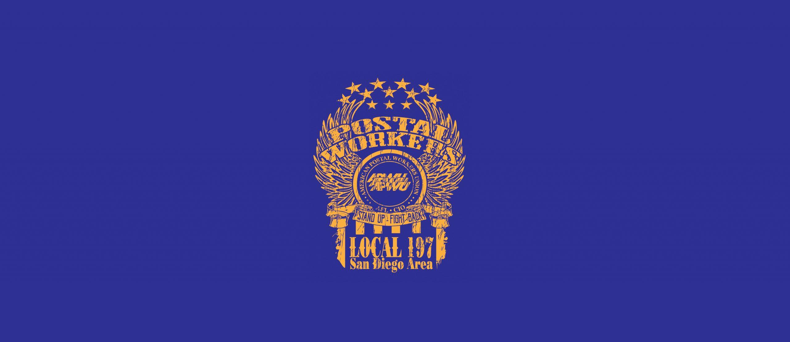 APWU 197 - GOLD ON BLUE-background